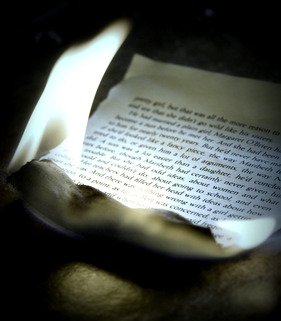 """fahrenheit 451 book burning essay For the novel in bradbury's personal life (ie the burning of the library of  alexandria that  """"the only book i've written that's science fiction is fahrenheit  451."""